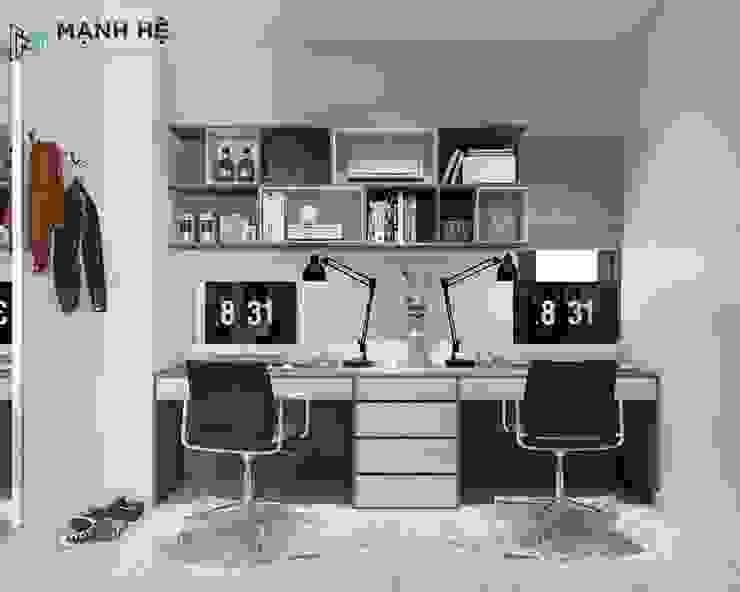 Kệ sách đồng bộ với bàn làm việc đôi tone nâu - trắng Công ty TNHH Nội Thất Mạnh Hệ Phòng ngủ phong cách Bắc Âu