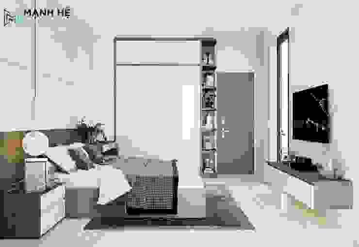 Tủ quần áo gỗ công nghiệp cửa lùa đụng trần Công ty TNHH Nội Thất Mạnh Hệ Phòng ngủ nhỏ
