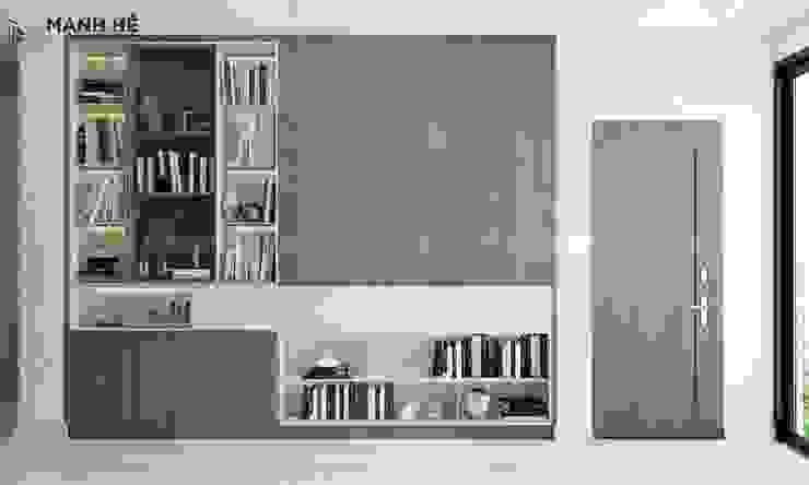 Tủ sách âm tường gỗ sồi Melamine lớn tại sảnh lầu 2 Công ty TNHH Nội Thất Mạnh Hệ Phòng khách phong cách Bắc Âu