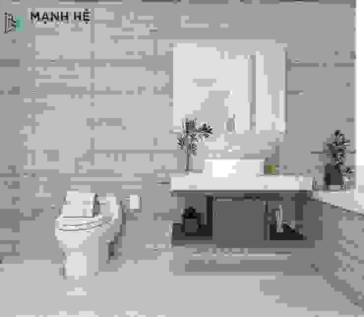 Tường nhà vệ sinh ốp đá cùng tủ gỗ nhựa đựng đồ cá nhân gọn gàng Công ty TNHH Nội Thất Mạnh Hệ Phòng tắm phong cách Bắc Âu