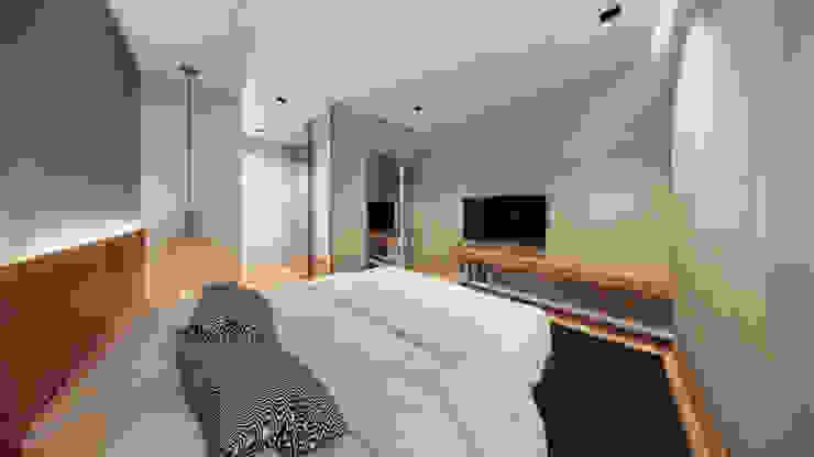 Suite Saulo Magno Arquiteto Quartos minimalistas Madeira Cinza
