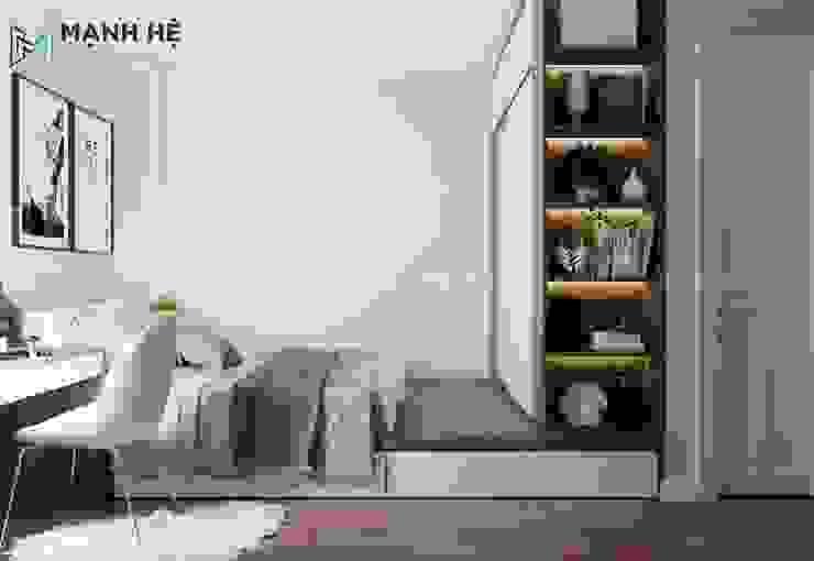 Giường ngủ dạng bục liền tủ quần áo kết hợp kệ trang trí đa năng bởi Công ty TNHH Nội Thất Mạnh Hệ Hiện đại