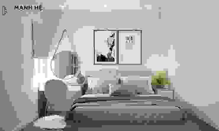 Vách ốp đầu giường bằng gỗ công nghiệp độc đáo, tránh bám bụi bởi Công ty TNHH Nội Thất Mạnh Hệ Hiện đại