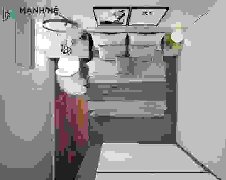Tổng thể không gian phòng ngủ master nhỏ gọn Công ty TNHH Nội Thất Mạnh Hệ Phòng ngủ phong cách hiện đại