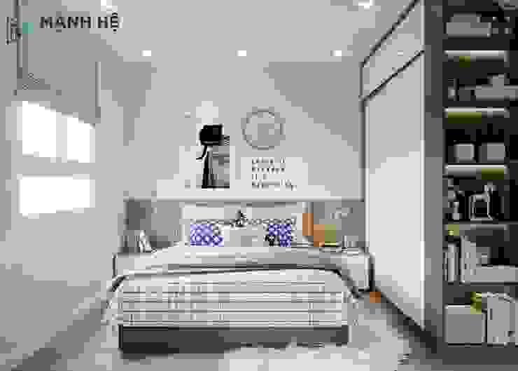 Vách ốp đầu giường gỗ công nghiệp đồng bộ với sàn gỗ bởi Công ty TNHH Nội Thất Mạnh Hệ Hiện đại