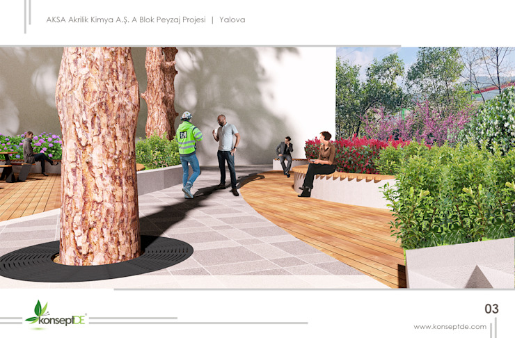AKSA AKRİLİK KİMYA SANAYİ A.Ş & Ablok bahçesi konseptDE Peyzaj Fidancılık Tic. Ltd. Şti.