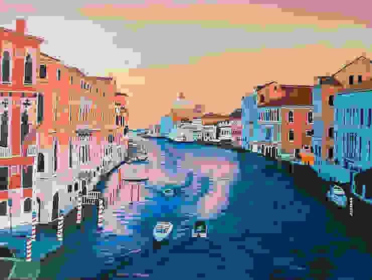 Venedig von Kunst-Grafik Klassisch Flachs/Leinen Pink