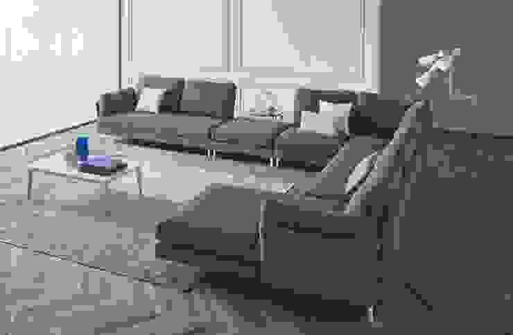 Sofá moderno de canto com chaiselong em tecido azul Modern corner sofa with chaiselong in blue fabric KNIL por Intense mobiliário e interiores; Moderno
