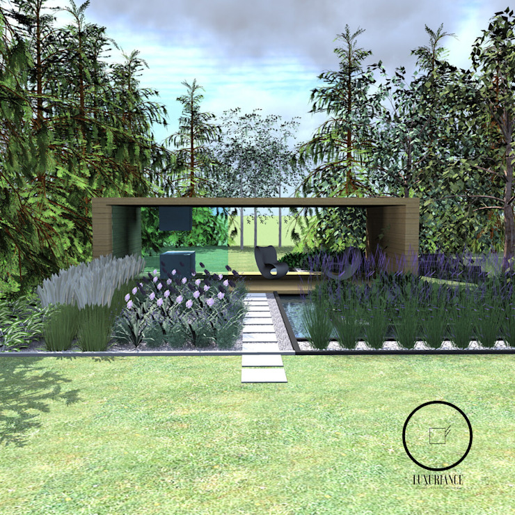 duży nowoczesny ogród Warszawa Luxuriance Nowoczesny ogród