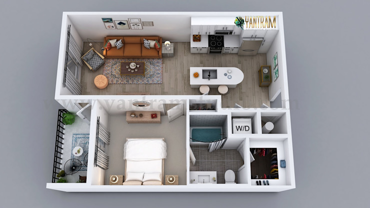3D Classic floor plan design of Residential Apartment Layout by Architectural Design Studio, Australia - Sydney by Yantram Architectural Design Studio