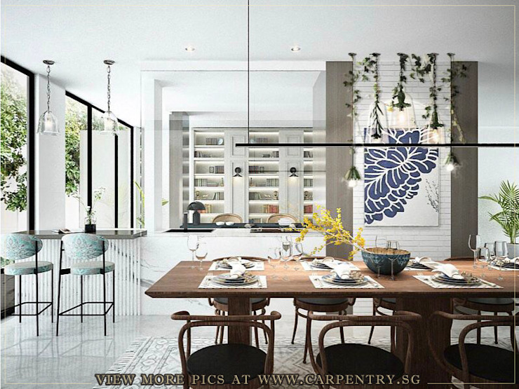Dining Room Scandinavian style dining room by Singapore Carpentry Interior Design Pte Ltd Scandinavian Engineered Wood Transparent