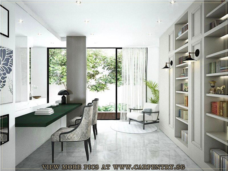 Study Area / Library Scandinavian style study/office by Singapore Carpentry Interior Design Pte Ltd Scandinavian Marble
