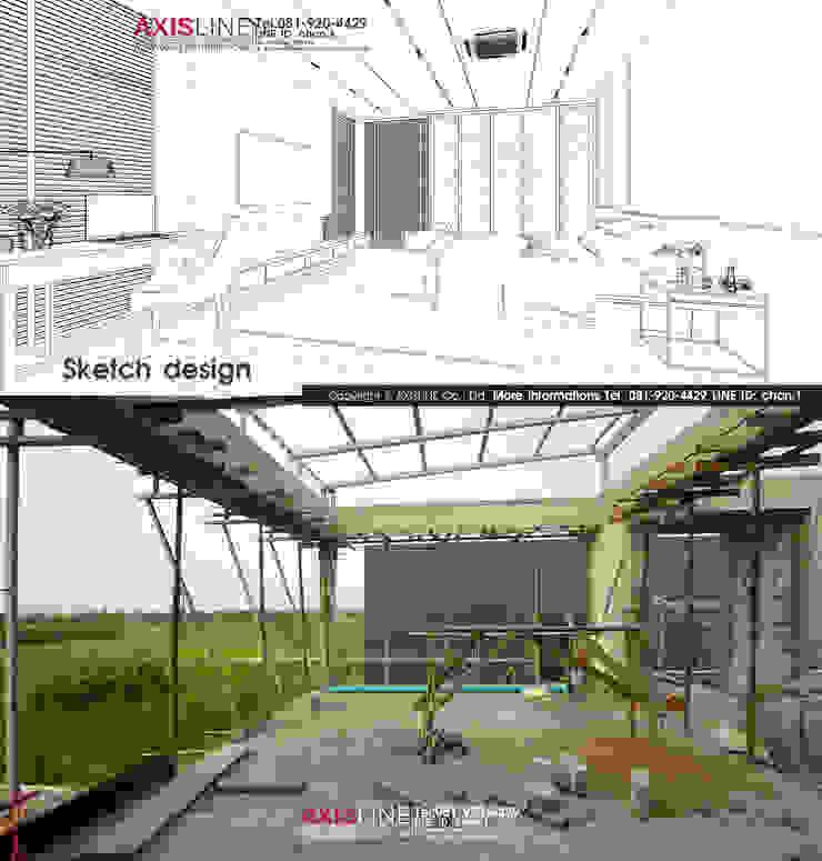 Sketch Design และหน้างาน บริษัทออกแบบ และรับเหมาตกแต่งภายใน | Interior Design: ทันสมัย  โดย บริษัทแอคซิสลาย จำกัด, โมเดิร์น