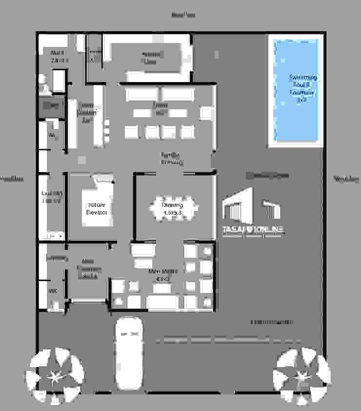 مخطط الدور الأرضي Tasamim Online تصاميم أونلاين