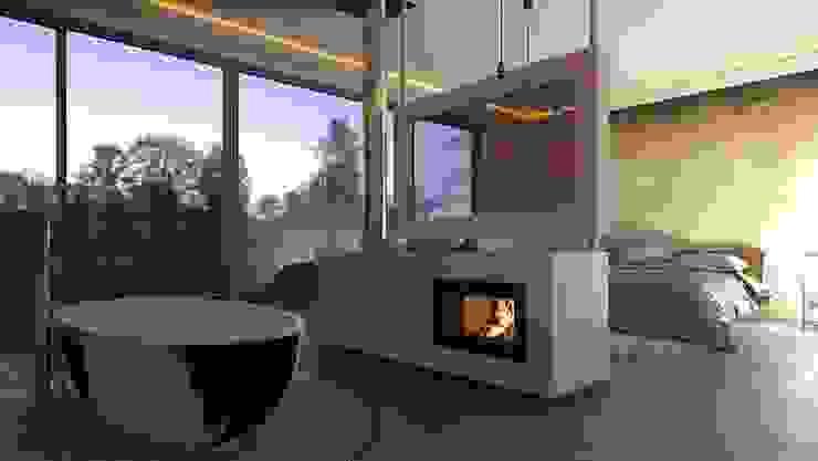 .kii10 | Kamin in der Bad und Schlafzimmerkombi Minimalistische Schlafzimmer von kiimoto kamine Minimalistisch Beton