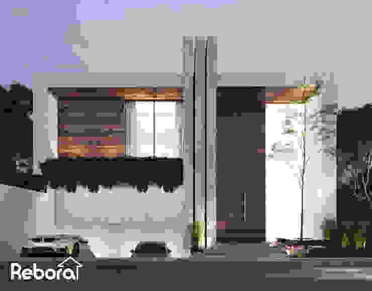 Casa de lujo con gran entrada principal. Casas estilo moderno: ideas, arquitectura e imágenes de Rebora Arquitectos Moderno