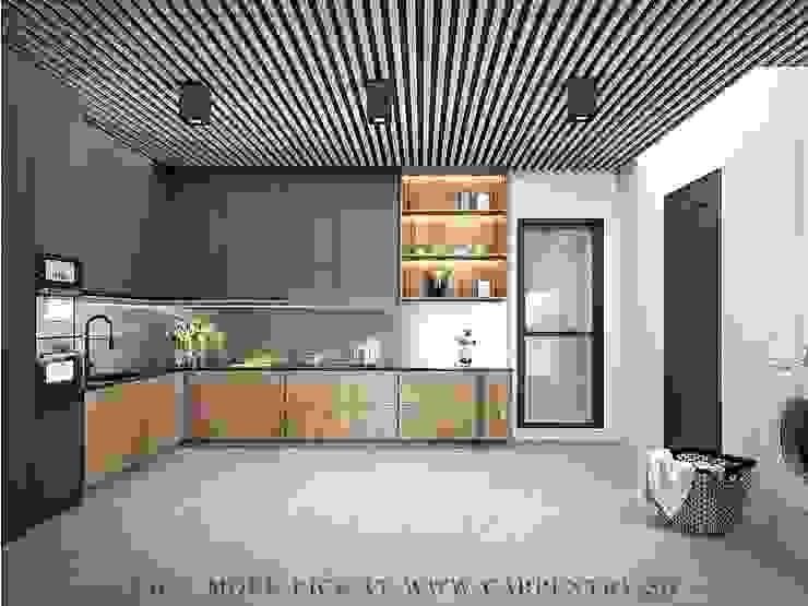 Stunning Monochromatic Accomodations At Corporation Rise Modern kitchen by Singapore Carpentry Interior Design Pte Ltd Modern Stone