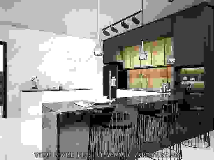 Stunning Monochromatic Accomodations At Corporation Rise Modern kitchen by Singapore Carpentry Interior Design Pte Ltd Modern Marble
