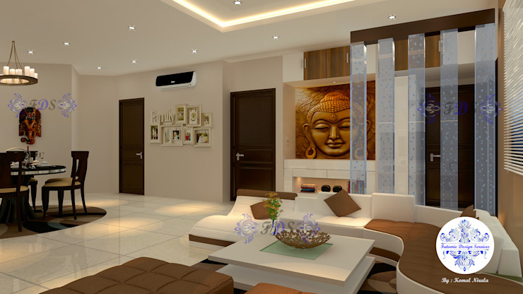 Lobby plus Dining in Earthen Colours by Futomic Modern living room by Futomic Design Services Pvt. Ltd. Modern Wood Wood effect