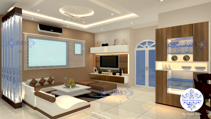 Lobby plus Dining in Earthen Colours by Futomic Modern living room by Futomic Design Services Pvt. Ltd. Modern MDF