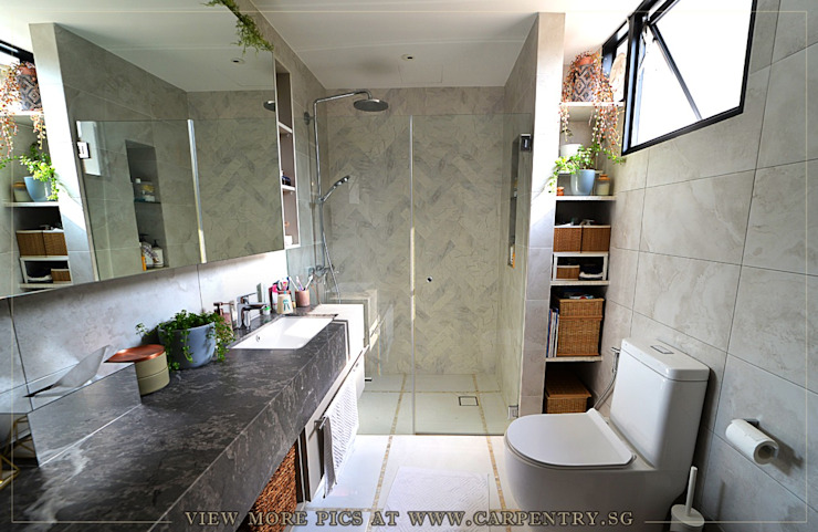 Luxury with Natural Lighting at Mount Rosie Terrace Scandinavian style bathrooms by Singapore Carpentry Interior Design Pte Ltd Scandinavian Marble