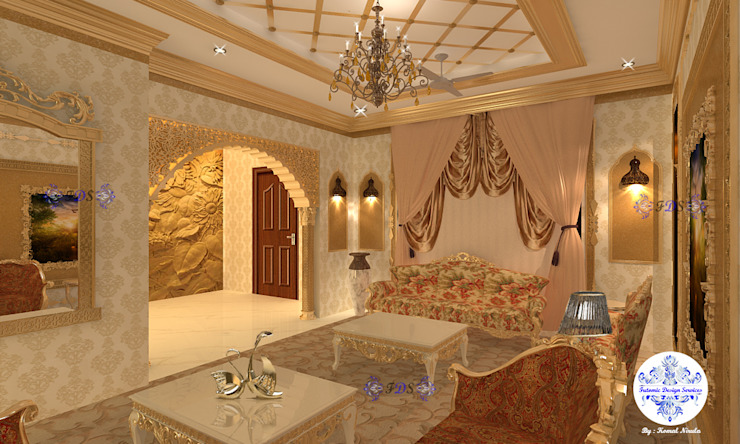 Majestic Drawing Room By Futomic Classic style living room by Futomic Design Services Pvt. Ltd. Classic Wood Wood effect
