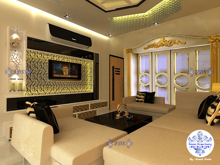 Fusion Themed Lounge By Futomic Classic style living room by Futomic Design Services Pvt. Ltd. Classic MDF