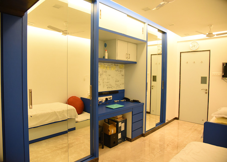 blue mirror sliding wardrobes Ornate Projects Small bedroom Glass Grey