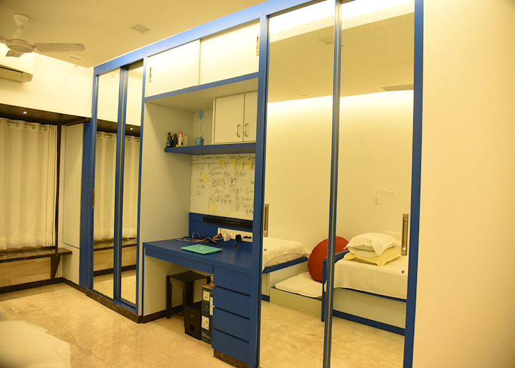 blue sliding wardrobes Ornate Projects Small bedroom Glass Blue