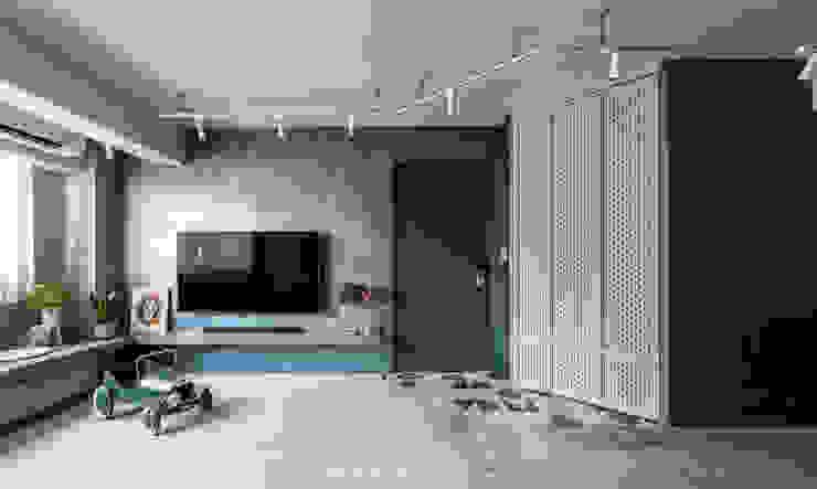 Living room 现代客厅設計點子、靈感 & 圖片 根據 湜湜空間設計 現代風