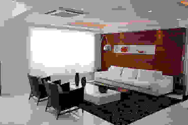 Sala de estar 1 FLAVIA CAMPOS INTERIORES /FCPR construções Salas de estar modernas Branco