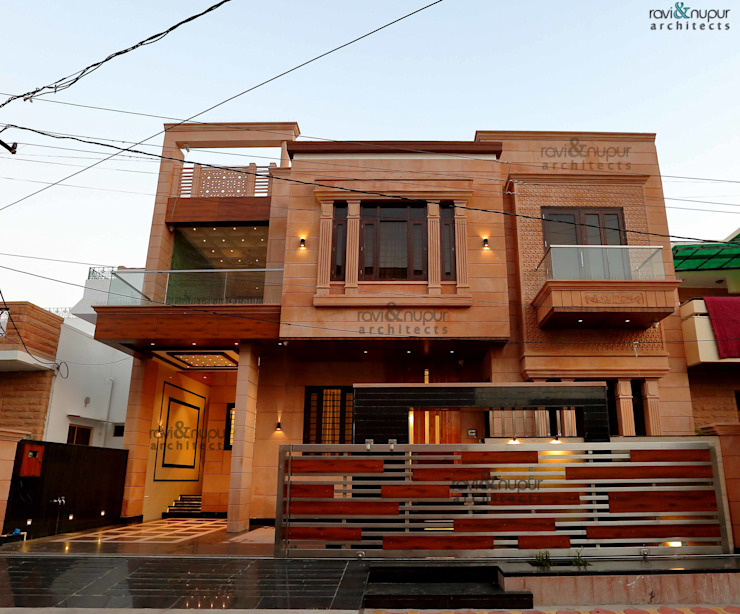 Project-Completed Residence in Prem Nagar, Jodhpur #Architecture #Interiors #Landscape 根據 RAVI - NUPUR ARCHITECTS 現代風 石器