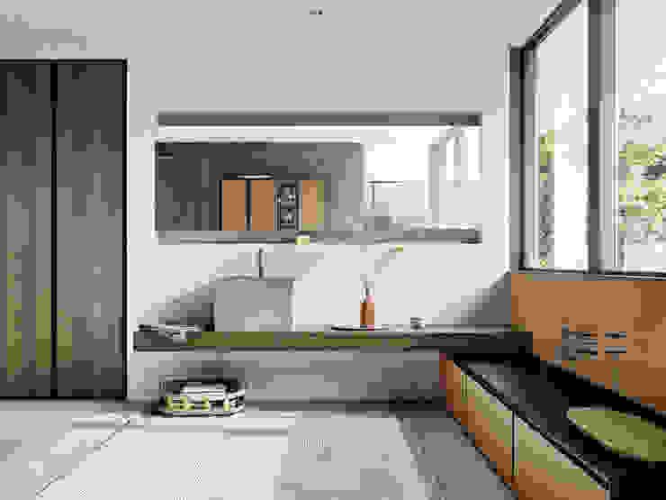 Arredo Bagno, zona lavabo e mensolone sospeso in legno rovere Meka Arredamenti Bagno minimalista