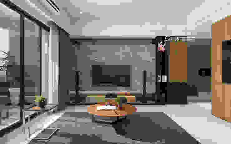 客廳 根據 木博士團隊/動念室內設計制作 日式風、東方風 大理石