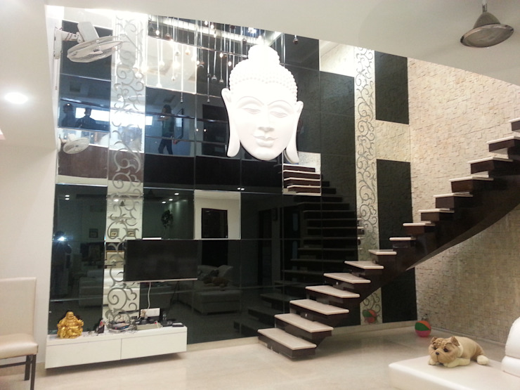 INTERIOR DESIGNERS & TURNKEY SERVICE - Punjabi bagh 7WD Design Studio Modern living room Glass Black