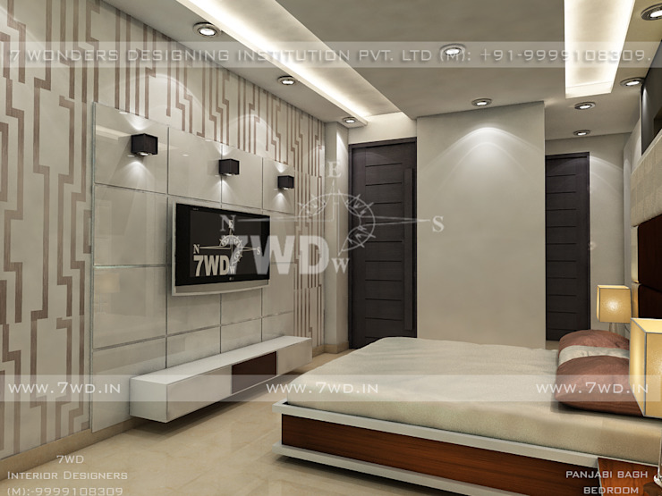 INTERIOR DESIGNERS & TURNKEY SERVICE - Punjabi bagh 7WD Design Studio Small bedroom Solid Wood White