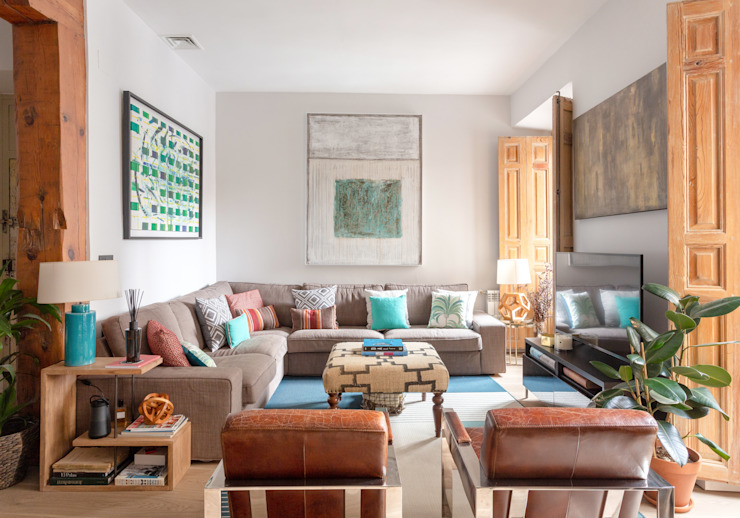 Salón en tonos cálidos Ane Devesa Estudio Salones de estilo moderno Madera Beige