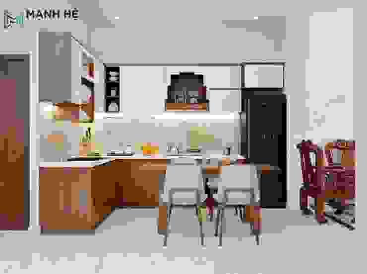 Bộ bàn ăn 4 ghế gỗ Melamine có vẫn gỗ đậm như gỗ tự nhiên Nhà bếp phong cách hiện đại bởi Công ty TNHH Nội Thất Mạnh Hệ Hiện đại