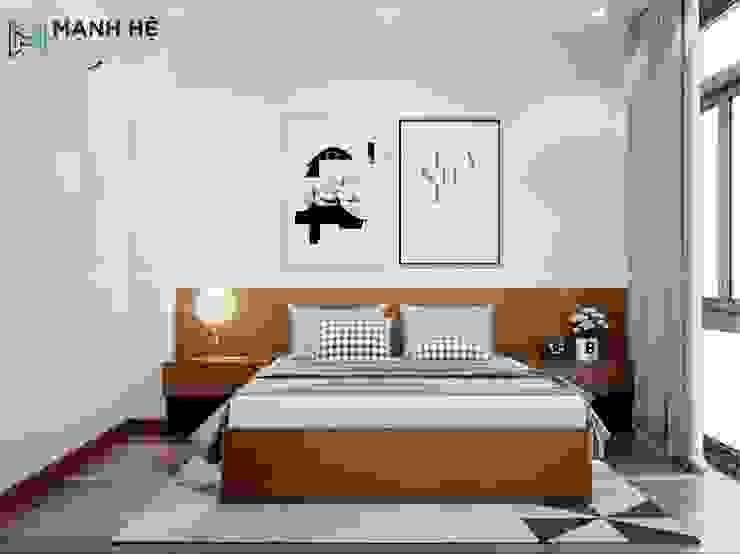 Giường ngủ đôi với vân gỗ nhuyễn độc đáo Phòng ngủ phong cách hiện đại bởi Công ty TNHH Nội Thất Mạnh Hệ Hiện đại