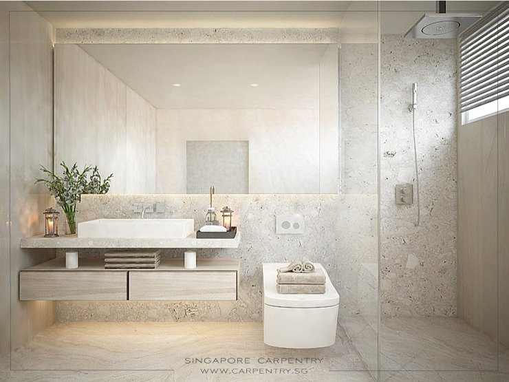 Farmhouse Styled Tranquility @ Farrer Road Modern style bathrooms by Singapore Carpentry Interior Design Pte Ltd Modern Marble
