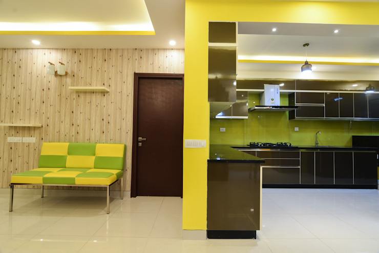 Living Room and Kitchen Room Modern kitchen by Magnon India Modern