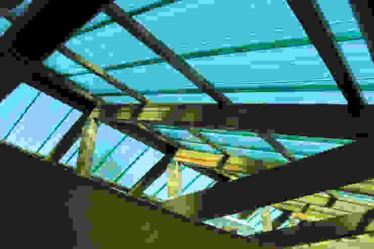 Vista interna tettoia a falde in policarbonato compatto - Ansolin Compatto Il Giardino delle Idee Tetto a falde Plastica Verde