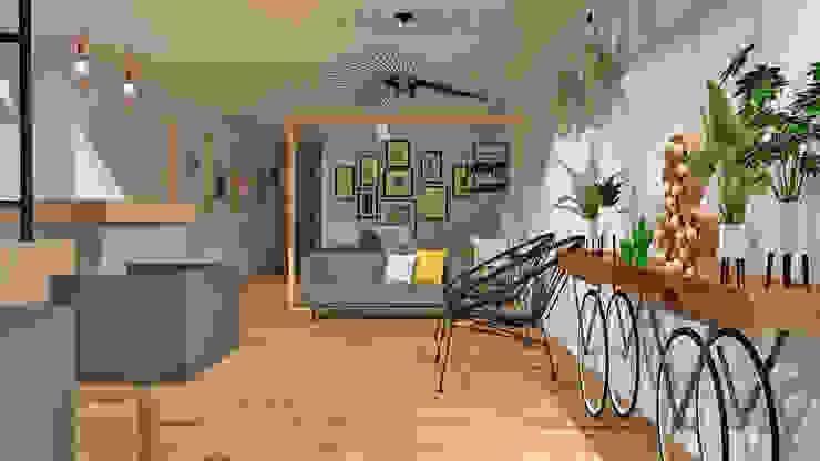 Entrada, sala de espera García Interiores Salones de estilo industrial