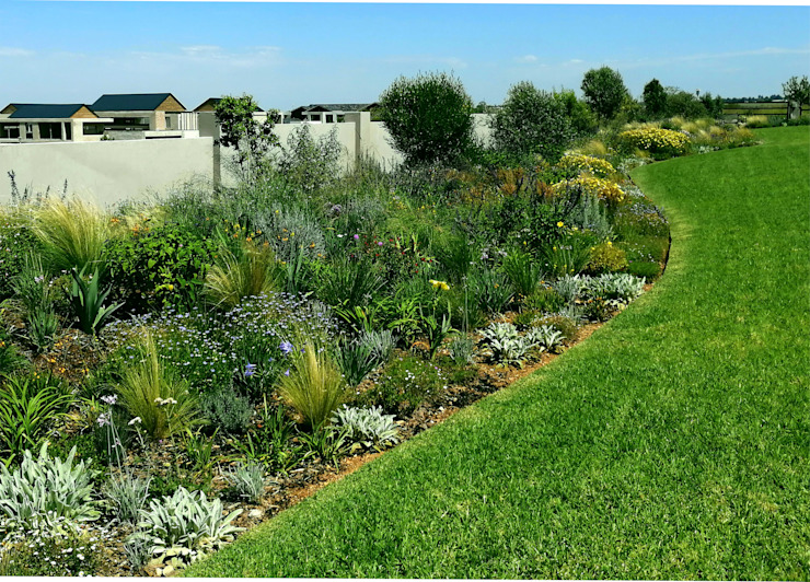 LARGE CONTEMPORARY PRAIRIE STYLE FAMILY GARDEN Country style garden by Young Landscape Design Studio Country