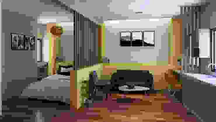 24sq.m apartment unit interior perspective by MR architecture Minimalist