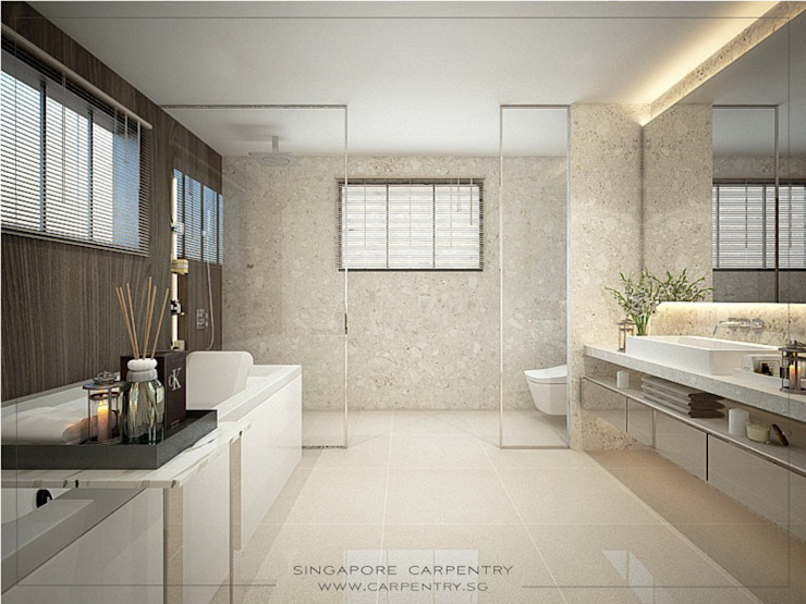 Luxe Living Meets Contemporary Comfort @ Happy Avenue Minimalist style bathroom by Singapore Carpentry Interior Design Pte Ltd Minimalist Marble