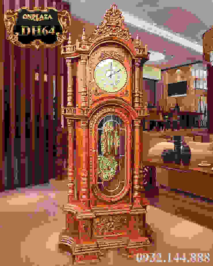 Đồng hồ cây gỗ sồi máy cổ DH64 mạ vàng 24k kiểu Pháp máy đại: Châu Á  by Cửa hàng bán đồng hồ cây gỗ cao cấp ở Hà Nội, Châu Á