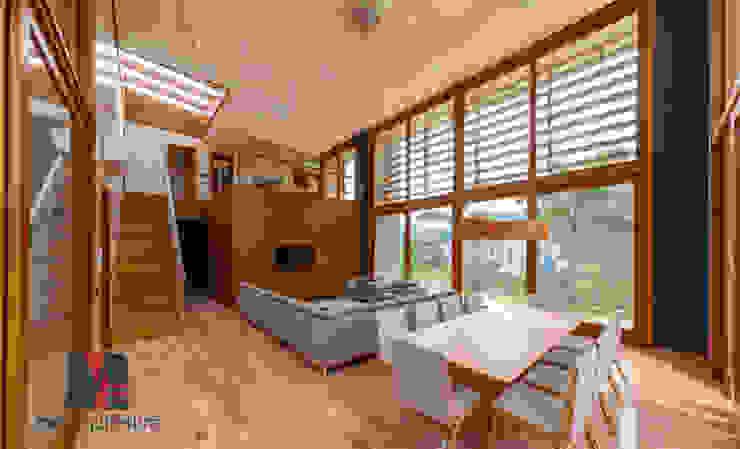 Sala de Estar e Jantar MEI Arquitetura e Interiores Salas de jantar modernas Madeira maciça Multi colorido