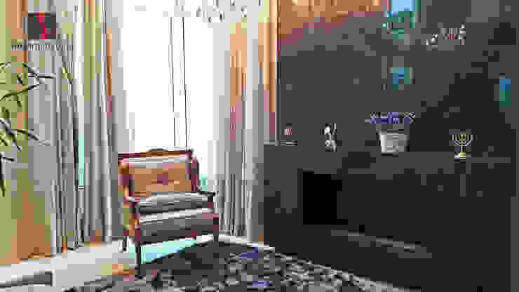 Sala de estar com lareira MEI Arquitetura e Interiores Salas de estar clássicas Mármore Preto