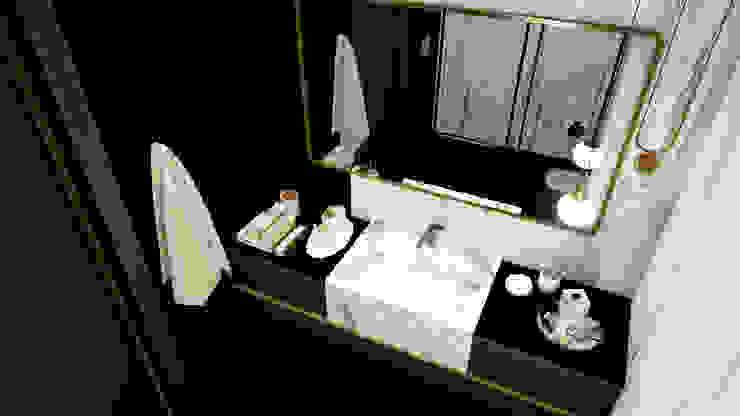Misafir odası - banyo tasarımı ANTE MİMARLIK Modern Banyo Siyah